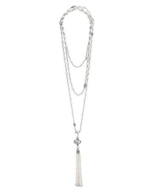 Lagos - Metallic 'luna' Pearl Tassel Necklace - Lyst