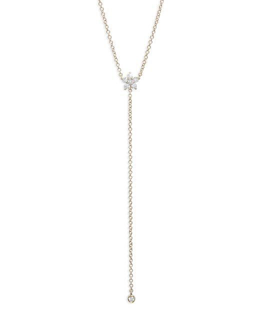 EF Collection - Metallic Diamond Flower Lariat Necklace - Lyst