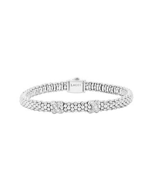 Lagos   Metallic 'signature Caviar' Diamond Rope Bracelet (online Only)   Lyst