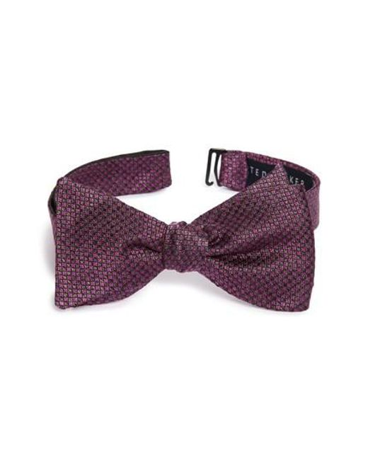 Ted Baker | Purple Jacquard Microsquare Silk Bow Tie for Men | Lyst