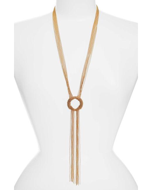 Karine Sultan - Metallic Jade Tassel Pendant Necklace - Lyst