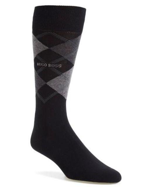 BOSS - Black 'james' Argyle Socks for Men - Lyst