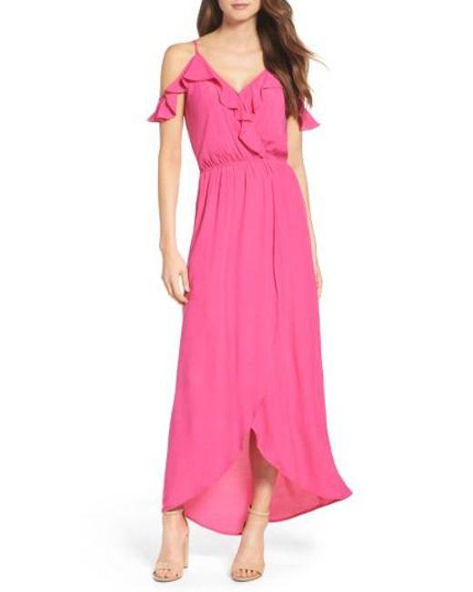 Fraiche By J | Pink Cold Shoulder Maxi Dress | Lyst