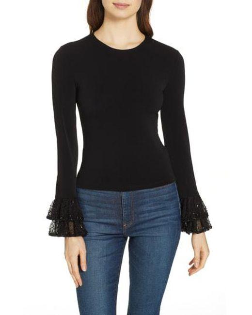 f28312adf8a9c Lyst - Alice + Olivia Haylen Embellished Cuff Top in Black