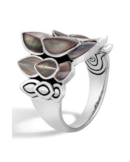 John Hardy - Metallic 'legends Naga' Mother Of Pearl Silver Small Saddle Ring - Lyst