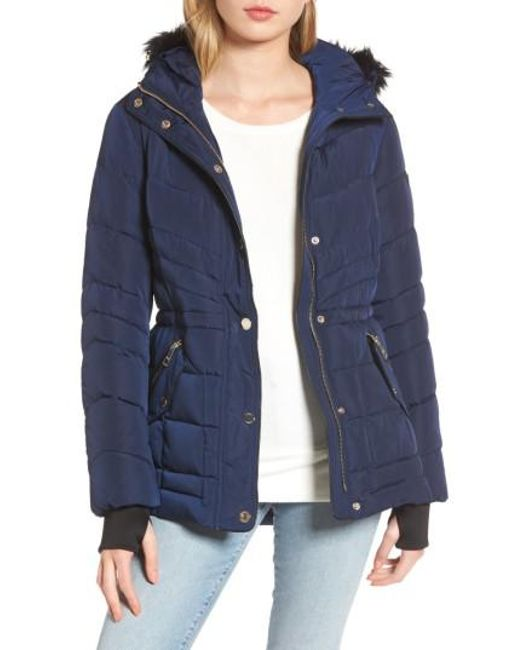 Guess | Blue Faux Fur Trim Quilted Anorak | Lyst
