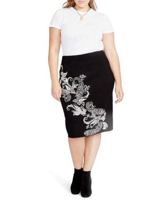 RACHEL Rachel Roy | Black Paisley Knit Pencil Skirt | Lyst