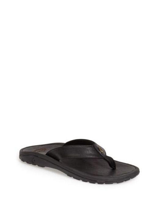 Olukai | Black 'kupuna' Flip Flop for Men | Lyst