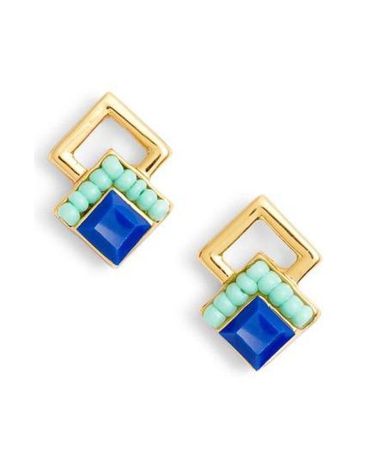 Rebecca Minkoff - Blue Geo Stud Earrings - Lyst