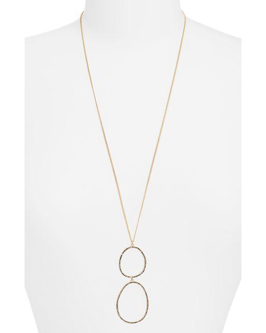 Sole Society Metallic Rhinestone Hoop Pendant Necklace