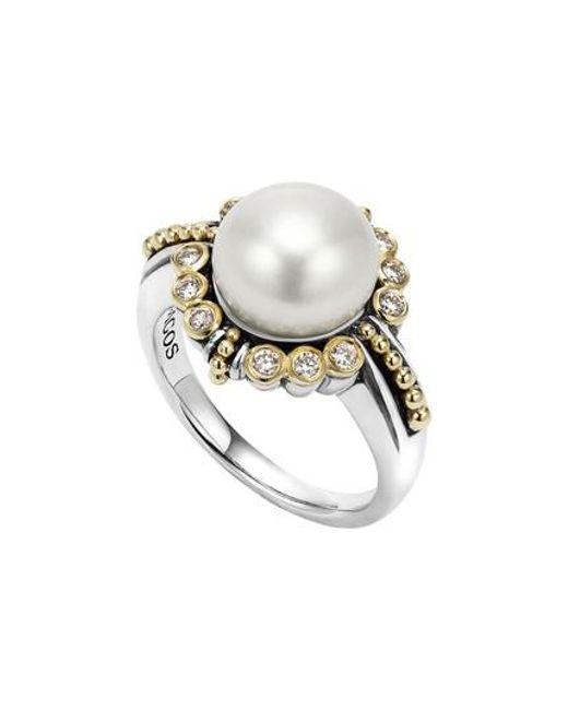 Lagos   Metallic Luna Diamond & Pearl Ring   Lyst
