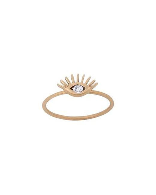 Kismet by Milka - Metallic Diamond Evil Eye Ring - Lyst
