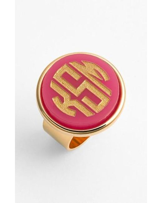Moon & Lola | Red 'vineyard' Personalized Monogram Ring | Lyst