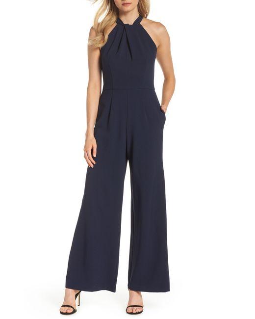 e63b2343bad978 Julia Jordan - Blue Halter Wide Leg Jumpsuit - Lyst ...