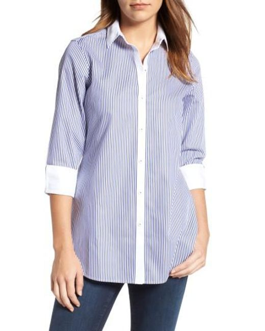 Foxcroft | Blue Mini Stripe Non-iron Tunic Shirt | Lyst