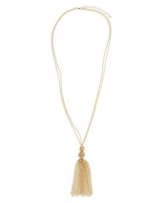 Panacea - Metallic Chain Tassel Pendant Necklace - Lyst