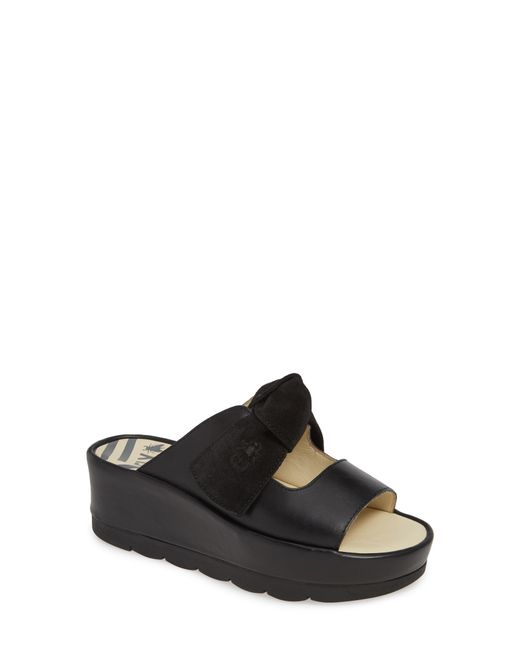 de9479c7ad49 Fly London - Black Bade Knotted Platform Slide Sandal - Lyst ...