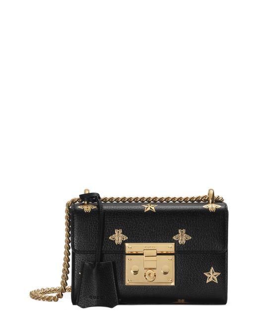 8ef475f4c7cca8 Gucci - Black Padlock Bee Star Small Shoulder Bag - Lyst ...