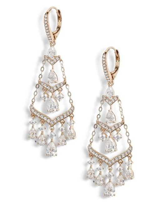 Nadri Metallic Chandelier Earrings Lyst