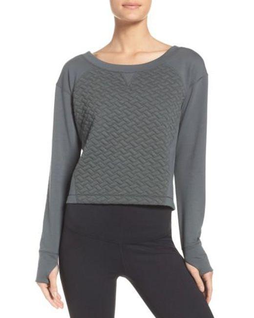 Zella | Gray Dance Off Crop Pullover | Lyst