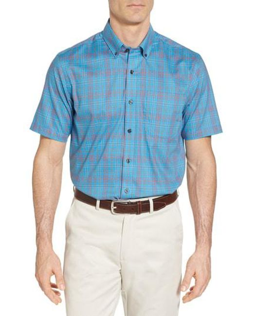 Cutter   Buck - Blue Isaac Classic Fit Easy Care Check Sport Shirt for Men - ae7860b0e