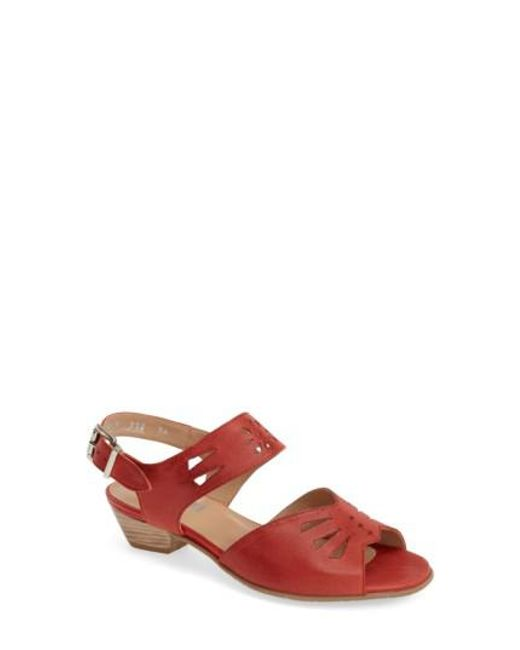Fidji - Red 'v112' Perforated Leather Sandal - Lyst