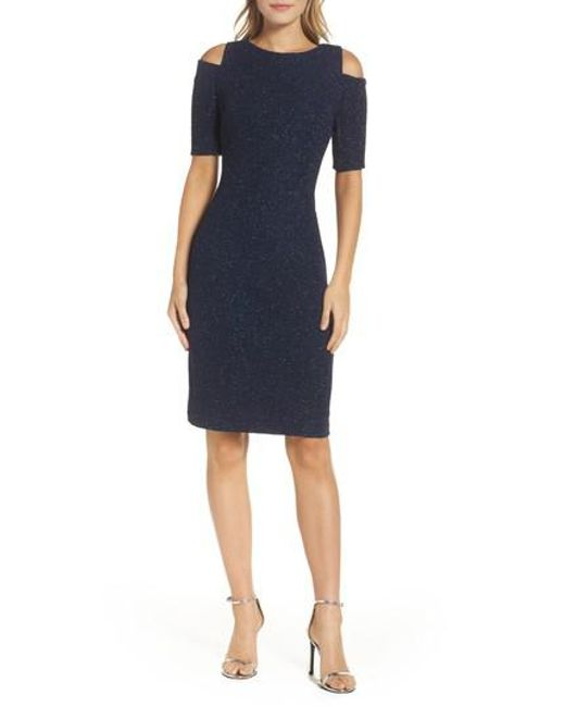 Eliza J   Blue Cold Shoulder Sparkle Knit Sheath Dress   Lyst