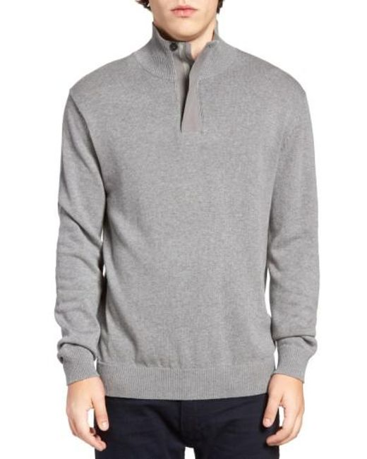 French Connection - Gray Quarter Zip Sweater for Men - Lyst