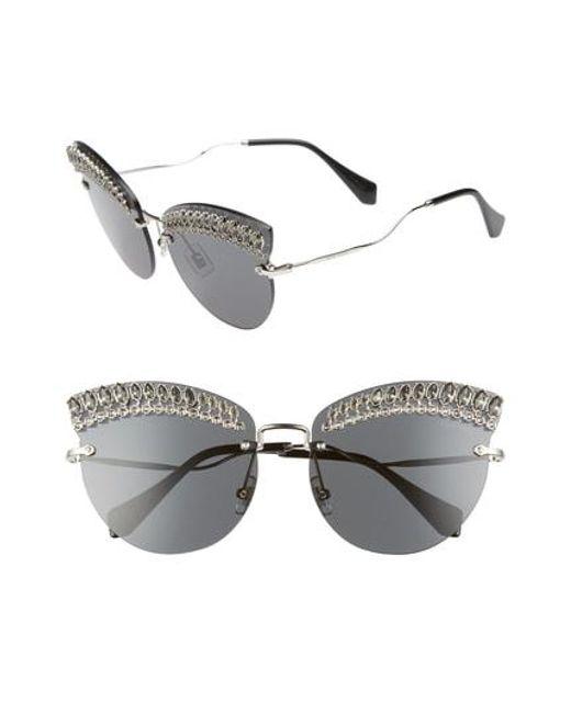 Miu Miu - Multicolor Scenique Evolution 65mm Oversize Rimless Cat Eye Sunglasses - - Lyst