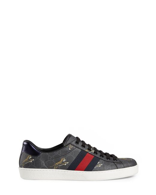 67400e4b80dd0 ... Gucci - Black Ace GG Supreme Tigers Sneaker for Men - Lyst