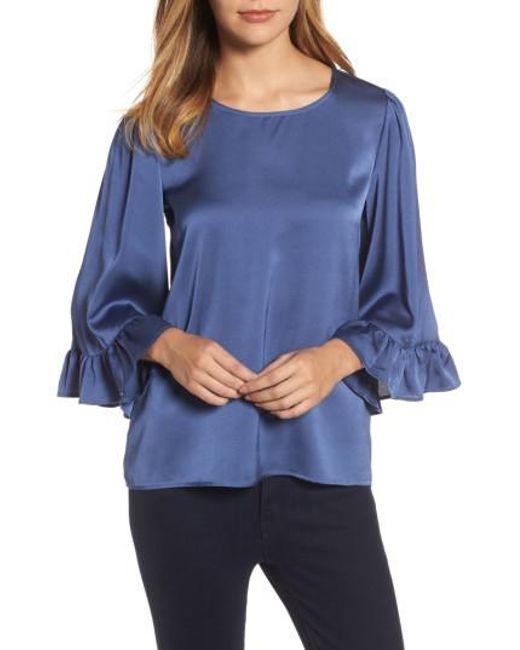 Bobeau - Blue Ruffle Sleeve Satin Top - Lyst