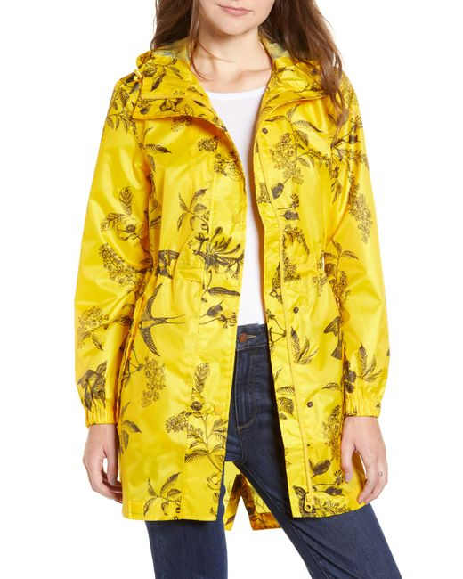 Joules - Right As Rain Packable Print Hooded Raincoat, Yellow - Lyst