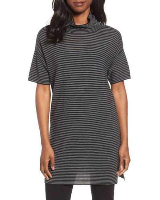Eileen Fisher | Black Stripe Merino Wool Tunic | Lyst