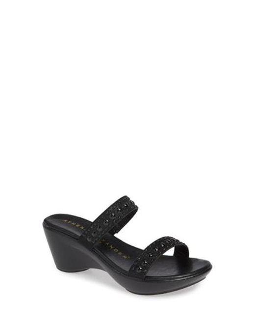 Athena Alexander - Black Beguine Stud Embellished Slide Sandal - Lyst