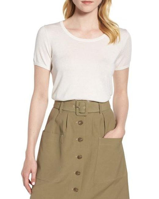 Nordstrom - White Silk Cashmere Crewneck Sweater - Lyst