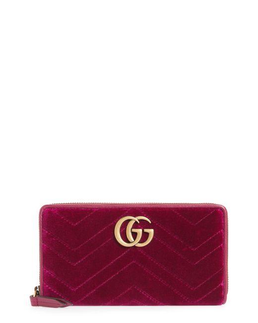 9e731f001e6996 Lyst - Gucci Gg Marmont 2.0 Matelasse Velvet Wallet - in Red
