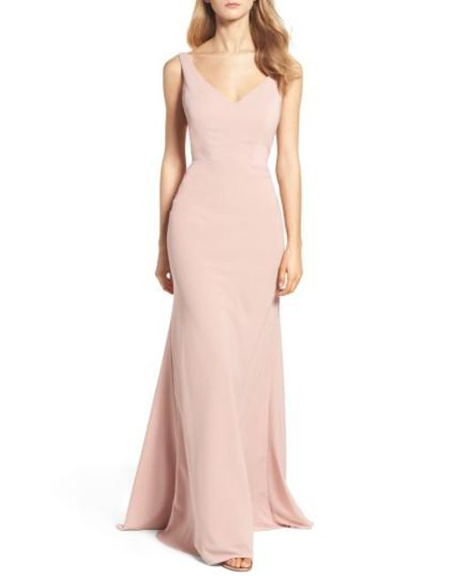 Jenny Yoo | Pink Delaney Tie Back V-neck Gown | Lyst