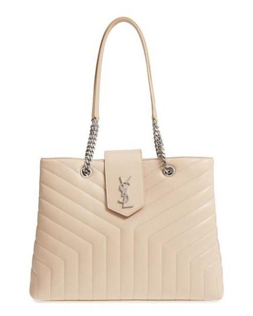 Saint Laurent - Natural Large Loulou Matelasse Leather Shopper - - Lyst
