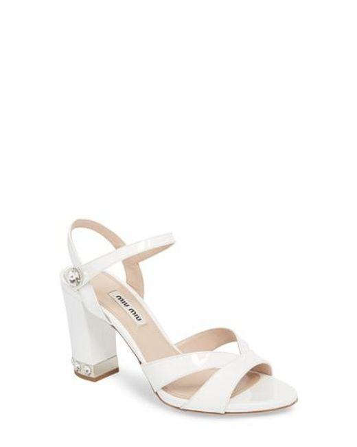 Miu Miu - White Jeweled Heel Sandal - Lyst
