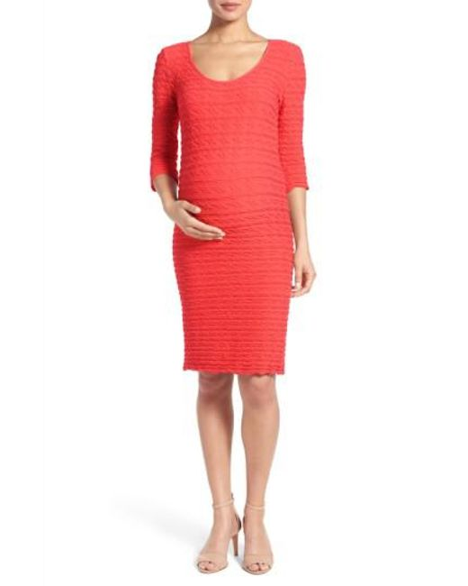 Tees by Tina | Multicolor Crinkle Maternity Sheath Dress | Lyst