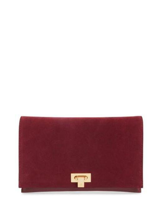 Tory Burch   Red Carmen Leather Clutch   Lyst