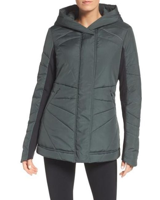 Zella | Gray Beyond Hooded Puffer Jacket | Lyst