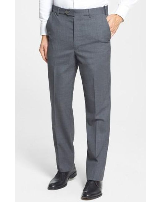 Berle | Gray Self Sizer Waist Flat Front Wool Trousers for Men | Lyst