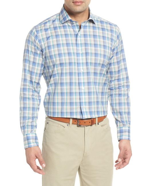 Peter Millar - Blue Saronic Regular Fit Melange Check Sport Shirt for Men - Lyst