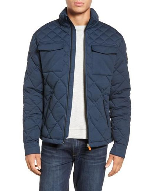 Save The Duck | Blue Stretch Quilted Field Jacket for Men | Lyst