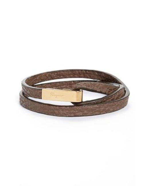 Ferragamo | Green Pelle Shark Leather Wrap Bracelet for Men | Lyst