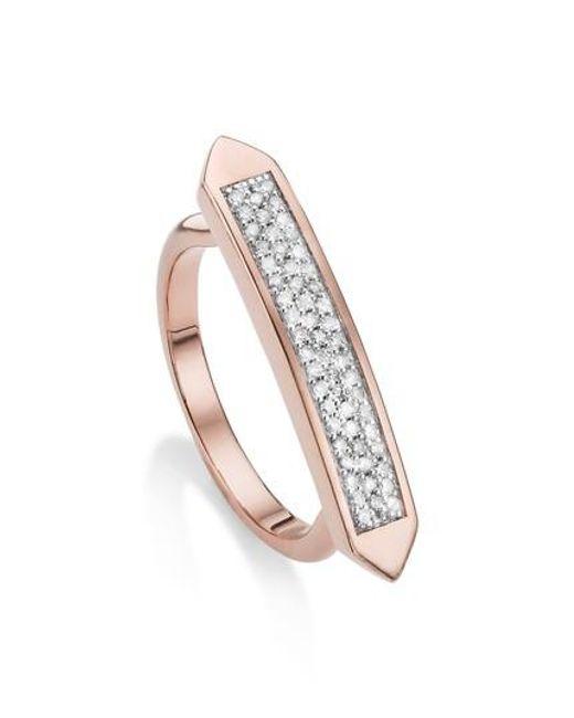 Monica Vinader - Metallic Baja Skinny Diamond Stacking Ring - Lyst
