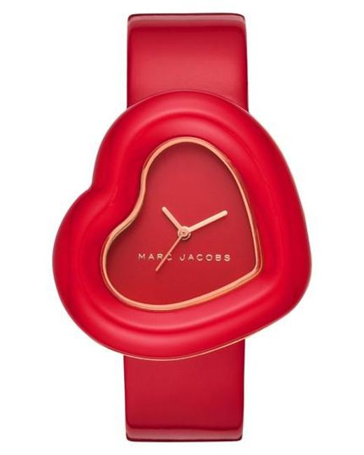 Marc Jacobs - Red Heart Leather Strap Watch - Lyst