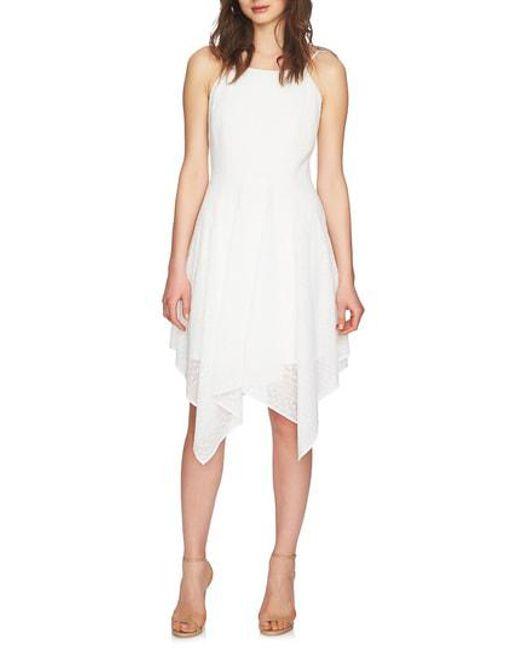 Lyst Cece Reese Handkerchief Hem Dress In White