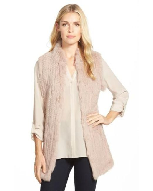 Love Token | Pink Genuine Rabbit Fur & Knit Vest | Lyst